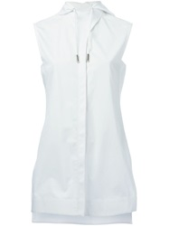 Paco Rabanne Sleeveless Hooded Shirt White