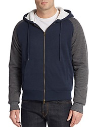 Saks Fifth Avenue Sherpa Lined Colorblock Hoodie Navy Grey