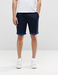 Asos Tailored Shorts With Turn Up In Navy Poplin Navy