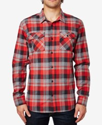 Fox Men's Trail Dust Plaid Long Sleeve Flannel Shirt Flame Red