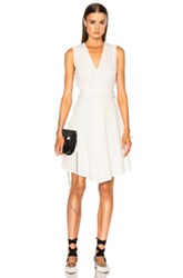 Proenza Schouler Satin Back Crepe Flared Dress In White