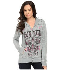 Affliction Maritza Long Sleeve Paneled Zip Hoodie Thunderstorm Grey Lava Wash Women's Sweatshirt Gray