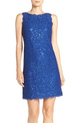 Adrianna Papell Women's Sequin Lace A Line Dress Prussian Blue