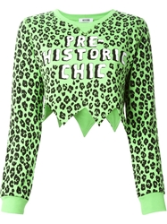 Moschino Cheap And Chic Leopard Print Cropped Sweatshirt Green