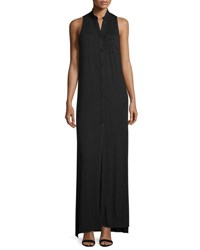 Haute Hippie The Cady Button Front Voile Maxi Dress Black