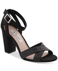 Nina Shelly Block Heel Evening Sandals Women's Shoes Black