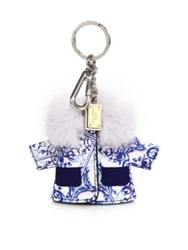 Dolce And Gabbana Italian Tile Leather And Mink Fur Jacket Keychain Blue White
