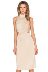 Kendall Kylie Knot Front Jersey Dress Beige