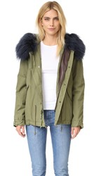 Mr And Mrs Italy Army Shell Coat With Fur Trim