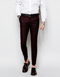Heart And Dagger Burgundy Textured Trousers In Skinny Fit Red