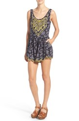 Women's Sun And Shadow Print Embroidered Romper
