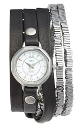 La Mer 'Highline' Leather And Stone Wrap Watch Black Silver