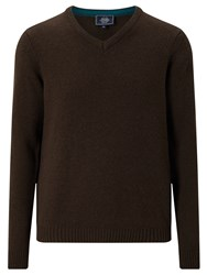 John Lewis Made In Italy Merino Cashmere V Neck Jumper Brown