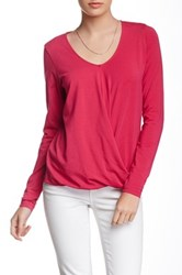 Lilla P Long Sleeve Draped Tee Pink