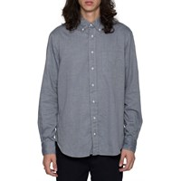 Gtiman Vintage Navy Herringbone Button Down Shirt Blue