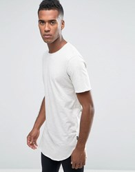Jack And Jones Longline T Shirt With Curved Hem Treated White Grey