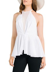 Kendall Kylie Mesh Accented Peplum Top White