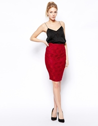 Sugarhill Boutique Sabrina Lace Pencil Skirt Burgundy