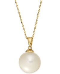 Macy's Pearl Necklace 14K Gold Cultured Freshwater Pearl Pendant 11Mm Black