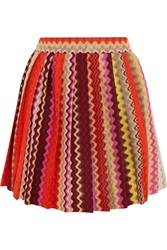 Missoni Pleated Crochet Knit Mini Skirt