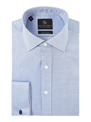 Chester Barrie Men's Contemporary Textured Square Shirt Blue