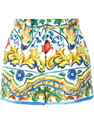 Dolce And Gabbana Majolica Print Brocade Shorts Multicolour