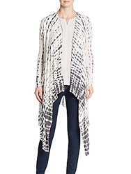 Saks Fifth Avenue Tie Dye Side Draped Cardigan White Grey
