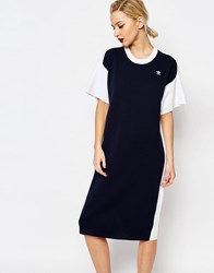 Adidas Originals By Hyke Knitted Midi T Shirt Dress With Contrast Back Night Navy White Multi