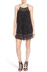 Junior Women's Sun And Shadow Embellished High Neck Print Dress