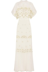 Temperley London Sura Embroidered Tulle And Silk Blend Chiffon Gown