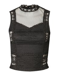 Dex Sleeveless Lace Bustier Top Black