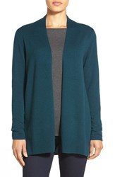 Women's Nordstrom Collection Open Front Cashmere Cardigan Teal Deep