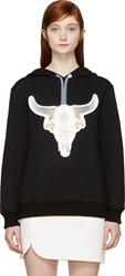 S By S Studio Black Bull Skull Illusion Tie Hoodie