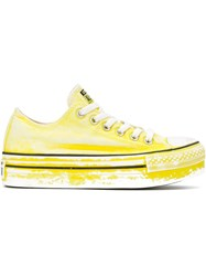 Converse Painted Effect Flatform Sneakers Yellow And Orange