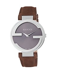 Gucci Sapphire Crystal And Stainless Steel Watch Brown