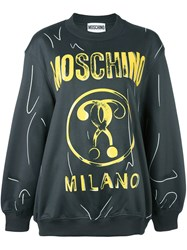 Moschino Double Question Mark Print Sweatshirt Grey