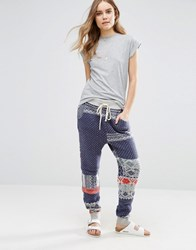 Free People Printed Snuggle Up Joggers Blue Combo