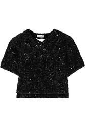 Sonia Rykiel Cutout Sequined Knitted Top Black