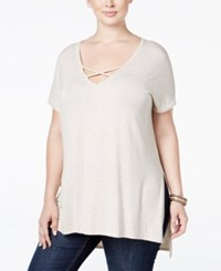 Soprano Trendy Plus Size Strappy Tunic T Shirt Natural
