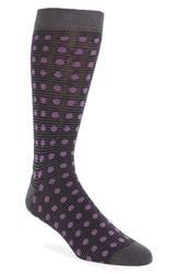 Ted Baker Men's London Dot And Stripe Pattern Organic Cotton Socks Charcoal
