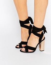 Truffle Collection Tie Ankle High Block Heel Sandals Black Mf Copper