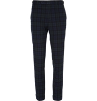 Beams Plus Checked Cotton Trousers Blue