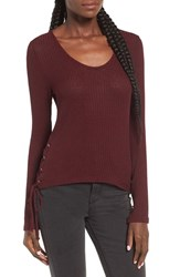 Sun And Shadow Women's Side Lace Up Rib Knit Tee Burgundy Beauty