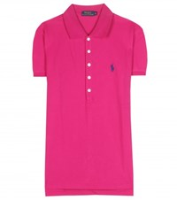 Polo Ralph Lauren Julie Embroidered Cotton Pique Polo Shirt Pink