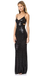 Badgley Mischka Collection Crossover Sequin Gown Black