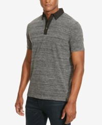 Kenneth Cole New York Men's Space Dyed Contrast Polo Charcoal Heather