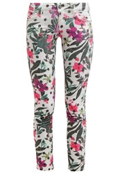 Guess Beverly Skinny Slim Fit Jeans Fantaisie Florale White
