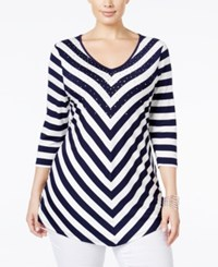 Belldini Plus Size Embellished Striped Top White Navy