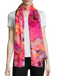 Bindya Spring Floral Print Cashmere And Silk Scarf
