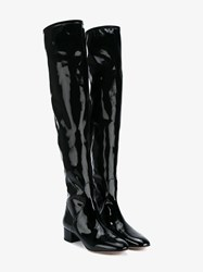 Valentino Patent Leather Over The Knee Boots Black Clotted Cream